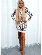 Round Neck Long Sleeves Regular Leopard Casual Sweater Dresses