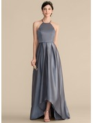 A-Line/Princess Square Neckline Asymmetrical Satin Prom Dresses With Ruffle Bow(s)