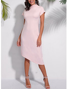 Solid A-line High Neck Short Sleeves Midi Casual Dresses