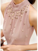 Sleeveless Chiffon Stand-up Collar Casual Blouses Blouses