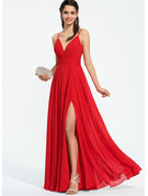 V-neck Floor-Length Chiffon Prom Dresses With Ruffle Split Front