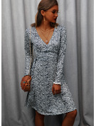Print A-line V-Neck Long Sleeves Midi Casual Vacation Skater Wrap Dresses