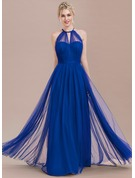 A-Line/Princess Scoop Neck Floor-Length Tulle Prom Dresses With Ruffle Bow(s)
