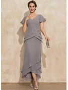 Sheath/Column V-neck Asymmetrical Chiffon Cocktail Dress With Appliques Lace Cascading Ruffles