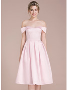 Off-the-Shoulder Knee-Length Satin Bridesmaid Dress