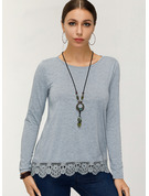 Long Sleeves Cotton Round Neck Knit Blouses