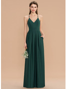 V-neck Floor-Length Stretch Crepe Bridesmaid Dress