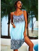 Print Shift Spaghetti Straps Sleeveless Midi Boho Casual Vacation Type Dresses