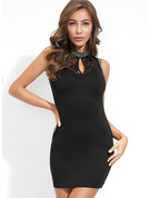 Polyester With Lace/Button/Beading/Solid Above Knee Dress