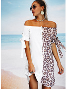 Leopard Color Block Shift Off the Shoulder 1/2 Sleeves Midi Casual Vacation Tunic Dresses