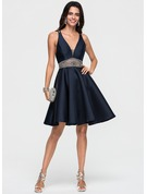 A-Line V-neck Knee-Length Satin Homecoming Dress With Beading Sequins