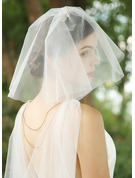 Two-tier Cut Edge Shoulder Veils With Rhinestones