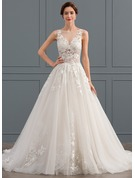 Ball-Gown Scoop Neck Chapel Train Tulle Wedding Dress