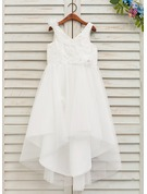 A-Line/Princess Asymmetrical Flower Girl Dress - Tulle/Lace Sleeveless V-neck With Flower(s)