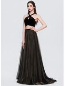 A-Line/Princess Scoop Neck Sweep Train Tulle Prom Dresses