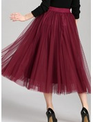 A-Line Skirts Mid-Calf Plain Polyester Skirts
