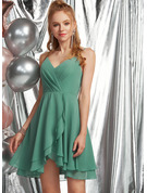 A-Line V-neck Asymmetrical Chiffon Homecoming Dress With Ruffle Cascading Ruffles
