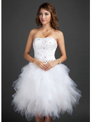A-Line Sweetheart Knee-Length Tulle Homecoming Dress With Beading Appliques Lace Sequins Cascading Ruffles
