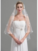 One-tier Cut Edge Fingertip Bridal Veils With Satin Flower