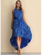 Lace/Cotton Blends With Lace/Hollow/Resin solid color Asymmetrical Dress