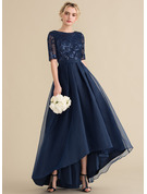A-Line/Princess Scoop Neck Asymmetrical Organza Sequined Evening Dress