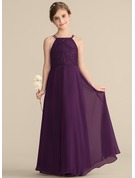 Square Neckline Floor-Length Chiffon Lace Junior Bridesmaid Dress