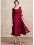 A-Line Scoop Neck Tea-Length Chiffon Cocktail Dress