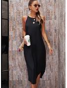 Solid Shift Round Neck Sleeveless Maxi Casual Vacation Dresses