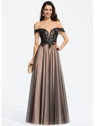 A-Line Off-the-Shoulder Floor-Length Tulle Prom Dresses With Sequins