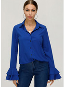 Long Sleeves Flare Sleeve Polyester V Neck Shirt Blouses Blouses