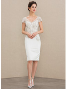 Sheath/Column V-neck Knee-Length Satin Lace Cocktail Dress