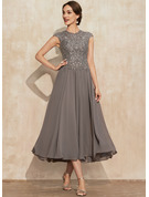 A-Line Scoop Neck Tea-Length Chiffon Lace Cocktail Dress With Beading
