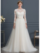 Court Train Tulle Wedding Dress With Bow(s)