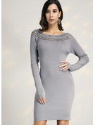 Ribbed Solid Polyester Cotton Round Neck Sweater Dresses Sweaters