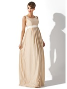 Empire Square Neckline Floor-Length Chiffon Maternity Bridesmaid Dress With Sash