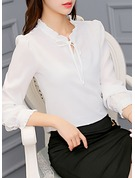 Plain Long Sleeves Polyester Casual Blouses Blouses
