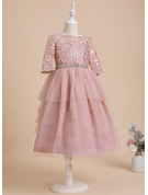 Tea-length Flower Girl Dress - Tulle Lace 1/2 Sleeves Scoop Neck With Beading Sequins