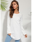 Long Sleeves Cotton Polyester Round Neck Knit T-shirt Blouses