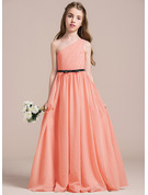 One-Shoulder Floor-Length Chiffon Junior Bridesmaid Dress With Ruffle Bow(s)