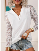 Regular Polyester V-Neck Lace Solid Fitted Blouses