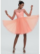 A-Line Scoop Neck Knee-Length Tulle Homecoming Dress With Beading