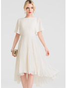 A-Line Scoop Neck Asymmetrical Chiffon Wedding Dress With Pleated