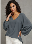 Long Sleeves Puff Sleeves Polyester V Neck Blouses