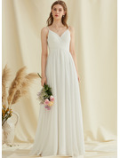 V-neck Floor-Length Chiffon Wedding Dress With Lace