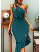 Solid Sheath One Shoulder Sleeveless Midi Elegant Party Dresses