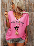 Regular Cotton Blends V-Neck Figure Print 3XL 4XL 5XL L S M XL XXL Blouses
