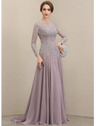 Scoop Neck Sweep Train Chiffon Lace Mother of the Bride Dress With Sequins