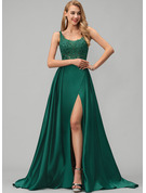 A-Line Square Neckline Sweep Train Satin Evening Dress With Lace Sequins Split Front