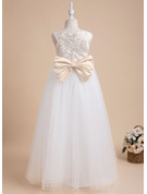 A-Line Floor-length Flower Girl Dress - Sleeveless Scalloped Neck With Lace/Bow(s)