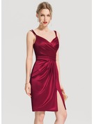 Sheath/Column V-neck Knee-Length Satin Cocktail Dress With Ruffle Split Front